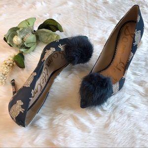 3eafaf3998315a Sam Edelman Shoes - SAM EDELMAN Sheep Print Pom-Pom Haroldson Pump